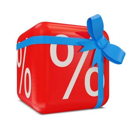 Symbols of Percent on Red Cube with Blue Bow  Sale Concept  photo