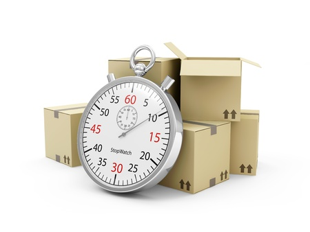 Express Delivery Concept  Cardboard Boxes with a Stopwatch isolated on white background photo
