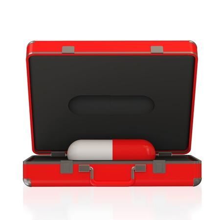 botiquin de primeros auxilios: Botiqu?n de primeros auxilios con un interior p?ldora aisladas sobre fondo blanco Foto de archivo
