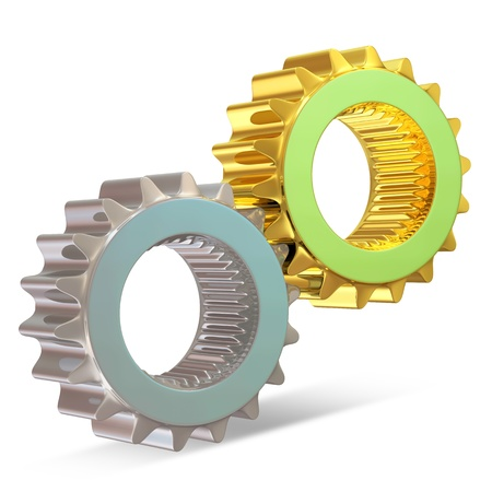 Golden and Silver Gears on white background photo