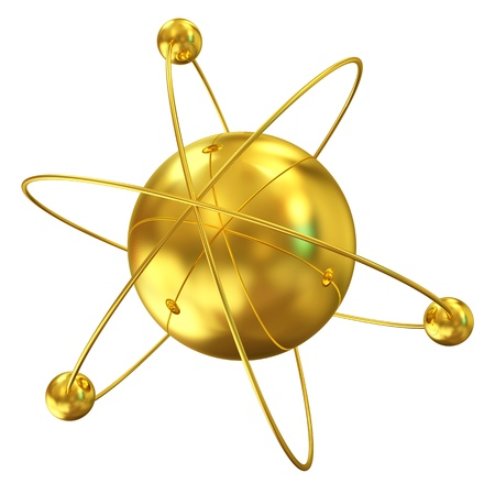 3d Illustration of Golden Atom isolated on white background Stock Illustration - 20082081
