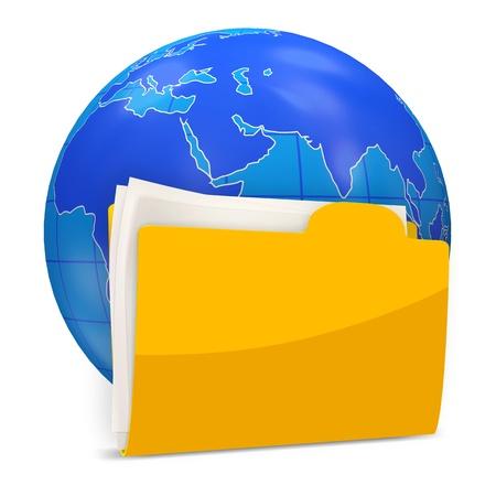 dir: Globe with Folder isolated on white background