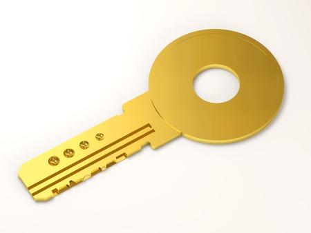 Golden Key on white background photo