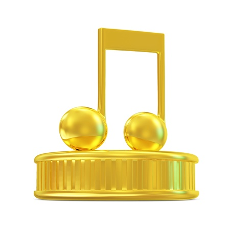 Golden Music Note on a podium isolated on white background photo