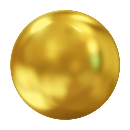 3D, dorato sfera isolato su sfondo bianco