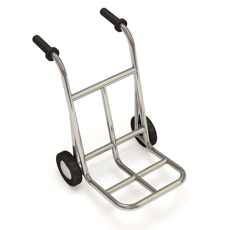 traction device: Metal Hand Truck on white background Stock Photo
