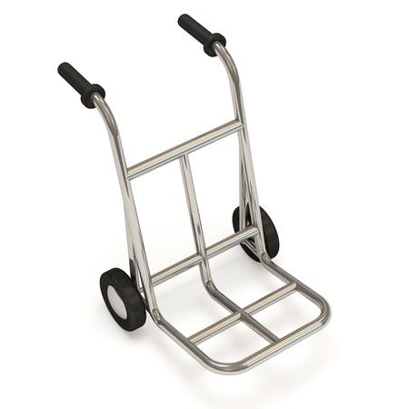 hand cart: Metal Hand Truck on white background Stock Photo