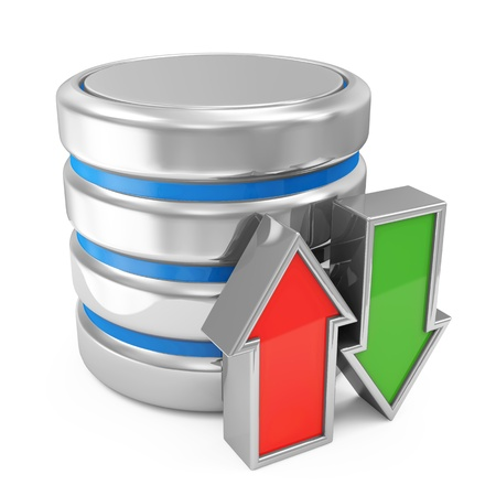 data base: Computer Database with Upload and Download Arrows isolated on white background