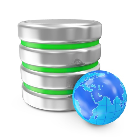 data base: Computer Database with Miniature Earth Planet isolated on white background