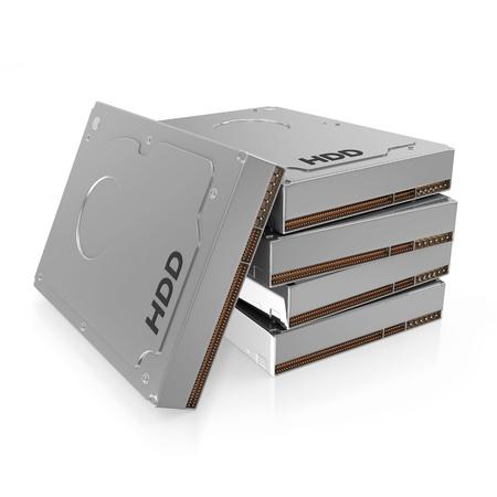 gigabyte: Group of Hard Disk Drives isolated on white background