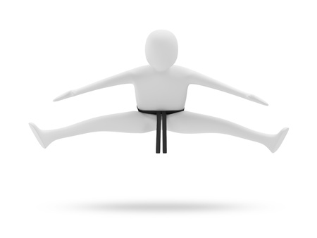 black belt: 3d Karate Man isolated on white background Stock Photo