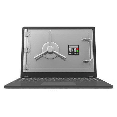 Laptop Security and Protection Concept  Laptop with Safe Door isolated on white background photo