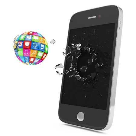 Abstract Illustration of APPS Sphere Breaking Through From Smartphone Display  Mobile APPS Concept illustration