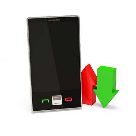 Mobile Device with green and red arrow on white background photo