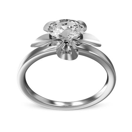 platinum wedding ring: The Beauty Platinum Wedding Ring with Diamond on white background Stock Photo
