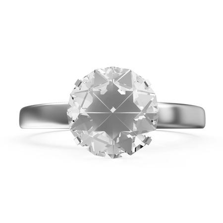 Platinum Wedding Ring with Diamond isolated on white background Stock Photo - 23397390