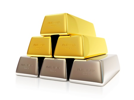 silver bars: Pyramid from Golden and Silver Bars on white background