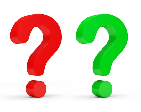 Red and Green Question Marks on white background photo