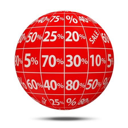 Abstract Sale Sphere with Percent Discount on white background photo