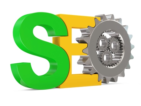 SEO - Search Engine Optimization Symbol with Metallic Gears on white background photo