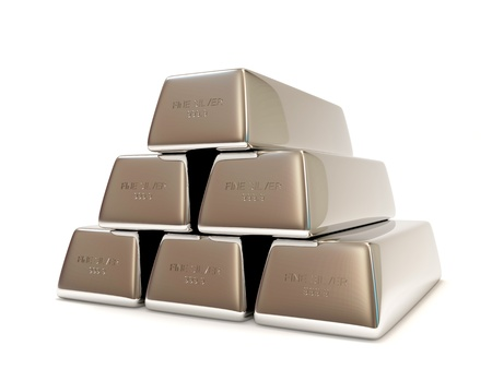 futures: Pyramid from Silver Bars isolated on white background