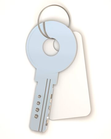 safe lock: Metal Key with empty blank on white background