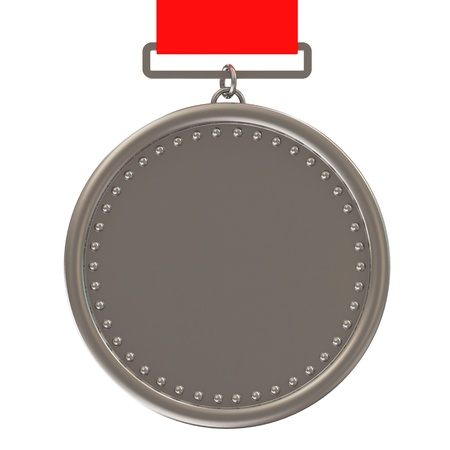 Blank Silver Medal with red ribbon isolated on white background photo