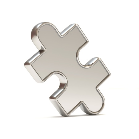 art piece: Silver Puzzle Piece on white background Stock Photo