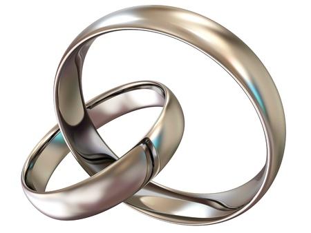 platinum: Platinum wedding rings isolated on white background