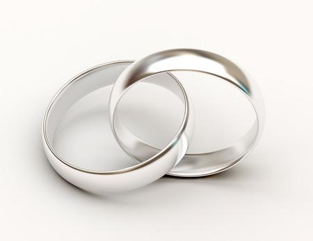 wedding rings: Platinum wedding rings on white background