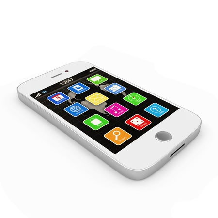 White Touchscreen Smartphone isolated on white background Stock fotó - 23397364