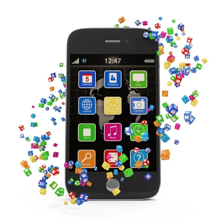 Application Icons around Touchscreen Smartphone isolated on white background photo