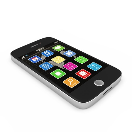 smart: Black Touchscreen Smartphone isolated on white background
