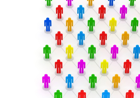 3d Illustration of Colorful People Network with place for your text illustration