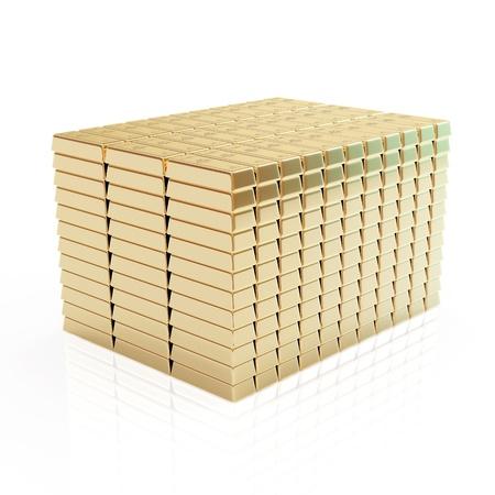 gold ingot: Stack of Golden Bars isolated on white background