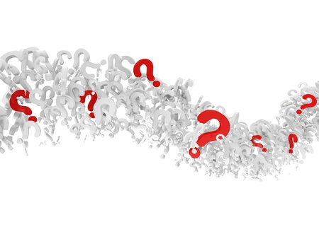 Wave from Question Marks isolated on white background photo