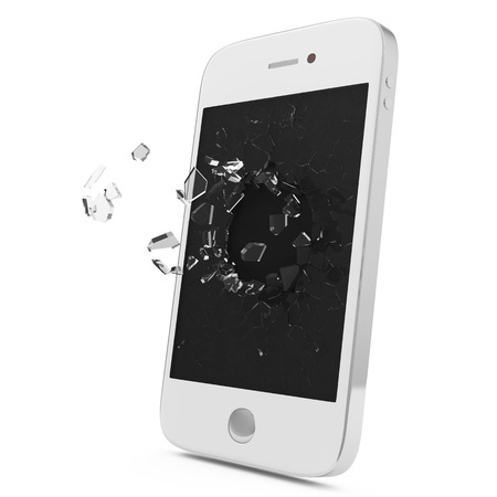 handphone: White Smartphone with Broken Display isolated on white background Stock Photo