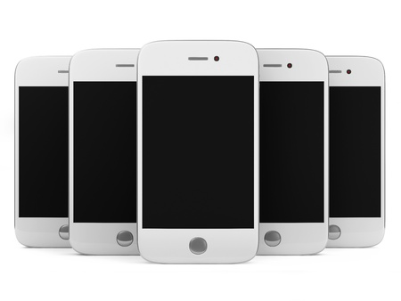 Group of White Smart Phones isolated on white background photo
