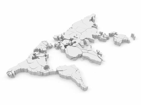 collapsed: Cracked World Map isolated on white background