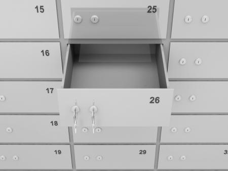 cuenta bancaria: Vacío abierto Safe Deposit Banco Foto de archivo