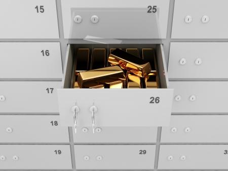 safety deposit box: Opened Deposit Bank Safe with Golden Bars Inside