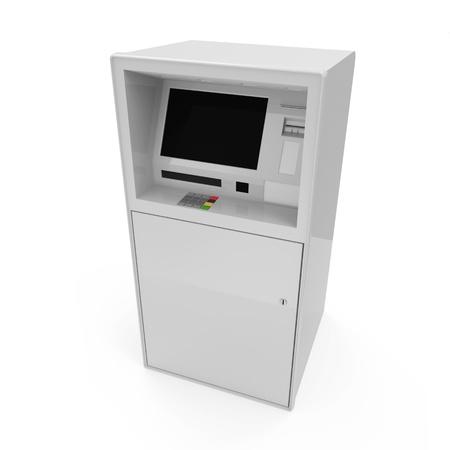 automatic transaction machine: Cajero automático aislado en fondo blanco