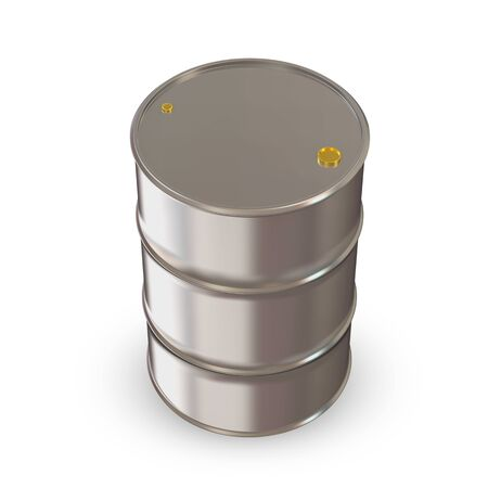 gas cylinder: Metal Barrel on white background Stock Photo