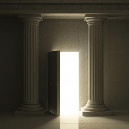 secret: Classic Ancient Interior with Columns and Opened Secret Door Stock Photo