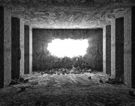 Grungy Interieur met Broken betonnen muur Stockfoto