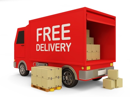 order shipping: Delivery Van with a Boxes on white background  Free Delivery Concept  Stock Photo