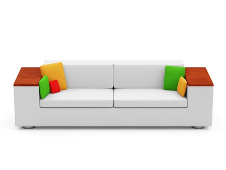 Sofa with Colorful Pillows isolated on white background Stock Photo