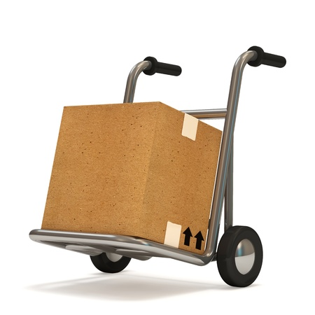 sack truck: Hand truck with a box on white background  Delivery Concept