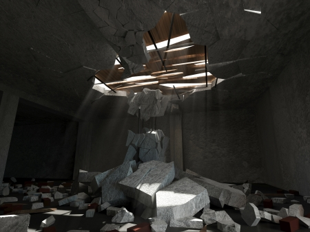 Abandoned Room Interior with Sun Rays Breaking Through the Holes in Ceiling photo
