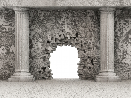 dirty room: Classic Ancient Interior with Columns and Broken Wall Stock Photo